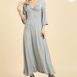 Heather Grey Knot-Detail Maxi, Elbow Sleeve